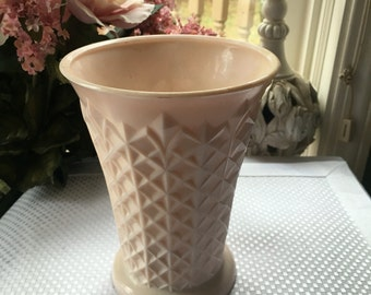 Pink Milk Glass Vase by Jennette Glass