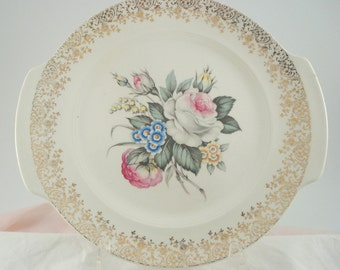 Vintage Wedding Serving Platter Cake Plate Salem China Royal Rose Bouquet Pink Rose  Cottage Chic Vintage Bridal Shower