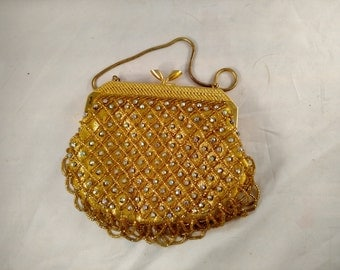Safco Hong Kong Gold Beaded Purse, AB Rhinestones Excellent Condition