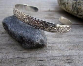 Petite Sterling Silver Antiqued Flower Vine Pattern Cuff Bracelet - Hand Forged