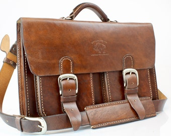 """15"""" Leather Messenger Leather Bag  Leather Briefcase Leather Laptop Satchel for Macbook Pro 008"""