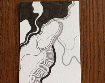 Original Abstract Drawing - Artist Trading Card - ACEO