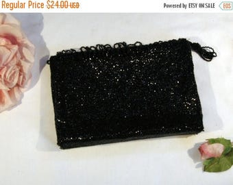 ON SALE Vintage 1960s Sparkling Black Beaded Evening Bag Purse Clutch Bag with Beaded Fringe