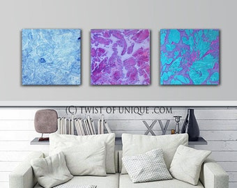 Cool colors sunset painting/ abstract sunset/ ORIGINAL wall art /3 painting set/  15 x 45  / Purple, blue, green
