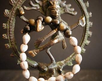 21 Bead Mula Mala, Gold Obsidian, Vaijayanti Seed and Pure Silver Leaf Charm