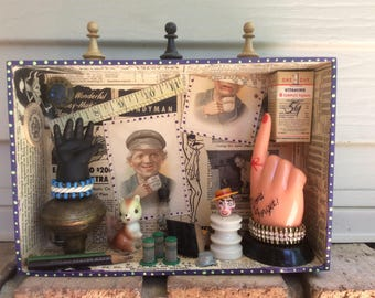 DON'T FORGET.... Mixed Media 3D Art Shadow Box DIORAMA Recycled Stuff Repurposed Cigar Box Junk Things Assemblage