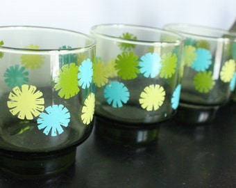 6 Shiny Happy Groovy Flower Power Drinking Glasses Set of Six,  Green glass with Bright blue and Green, Stacking  short glasses
