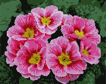 Needlepoint Kit or Canvas: Pink Blossoms