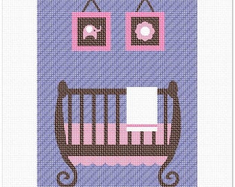 Needlepoint Kit or Canvas: Baby Girl Crib