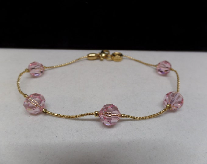 SWAROVSKI Signed Swan Pink Crystal Beaded Station Bracelet