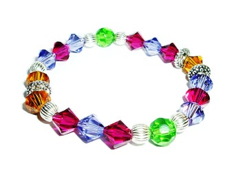 Multi Color Crystals Stretch Beaded Bracelet