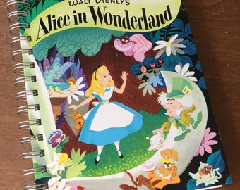 Alice in Wonderland Little Golden Book Recycled Journal