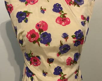1950s silk sleeveless blouse with flowers NEW with tags!