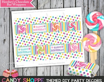 Sweet Candy Shoppe Birthday Theme Chocolate Bar Wrappers