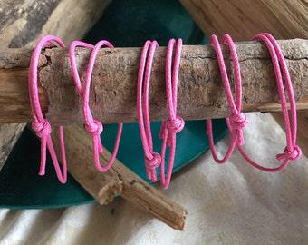 6 Pink String Adjustable Bracelet Friendship Party Favors Goodie Bag Stuffer Fund Raiser Sisterhood Reminders! 6 Count