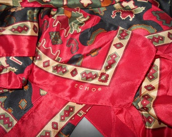Vintage Designer scarf 1980s ECHO silk excellent condition reds golds blue 30 x 30 square Free USA shipping