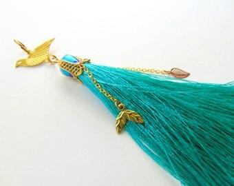 Silk Tassel, Emerald Tassel Pendant, Jewelry Making Tassels, Handmade Tassels