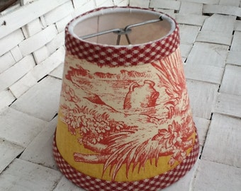 Red and yellow French toile chandelier lampshades wall sconce shades