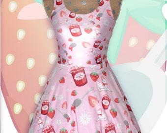 Kawaii Strawberry Dress Fairy Kei Strawberry Jam Lamb Dress Daisies Flowers Skater Dress Pastel Skater Dress Sizes XS through 3XL *PREORDER*