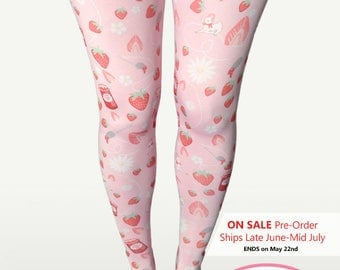 Kawaii Strawberry Tights Strawberry Stockings Sweet Lolita Tights Lamb Daisies Flowers Pastel  *Made 2 Order, Month*