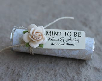 unique wedding favors, mint to be favors with personalized tag, wedding mints, lace theme with ivory roses, chic wedding