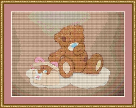 Two Teddies Cross Stitch Pattern /Digital PDF Files /Instant downloadable