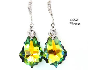 Green & Yellow Earrings Swarovski Earrings Sahara Baroque Crystal Bridesmaid Earrings Statement Earrings Bridal Wedding Earrings SA30H