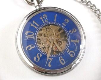 Majesti Skeleton Swiss Movement 17 Jewel Hand Wind Blue Enamel Pocket Watch Mechanical