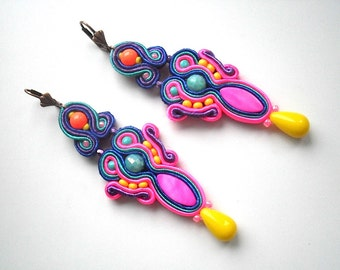Arlequin - Earrings - Soutache Jewelry - Hand Embroidered