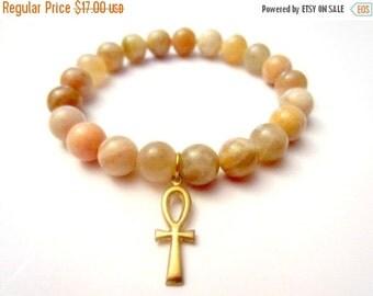 SALE Ankh Bracelet. Ankh. Sunstone Bracelet. Beaded Bracelet. Stone Bracelet. Africa Jewelry. Ankh Jewelry. Ankh Charm.
