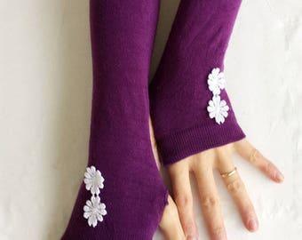 Purple Arm Warmers- Fingerless Knit Gloves-Lace Gloves -Fingerless mittens.