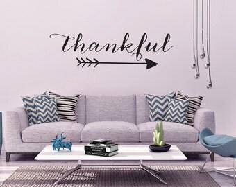 "Vinyl Wall Art Decal | ""Thankful"""