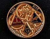 Vintage York Rite Masonic Lapel Pin Tie Tack Gold Tone