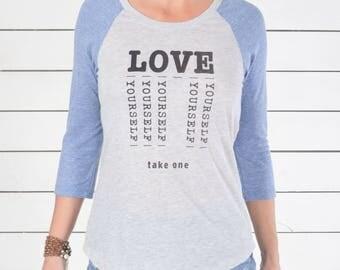 Love Yourself - Blue and Oatmeal Baseball Tee