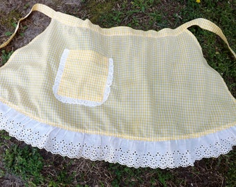 Sweet vintage yellow and white check half apron with white eyelet lace