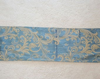Blue and Gold Brocade Table Runner