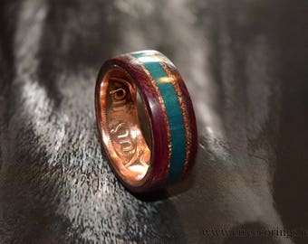 Irish penny coin ring with purple heart and turquoise inlay