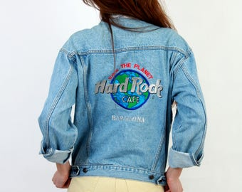 Hard Rock Cafe / Save The Planet  / Hard Rock Cafe Barcelona / Denim Jacket  / 80s Denim Jacket / Vintage Denim Jacket / Man Small Denim /