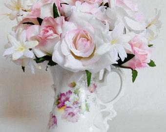 Artificial Flower Arrangement, White with Pink Roses & Rosebuds, Vintage Hand Decorated Pitcher/Vase, Silk Flower Arrangement, Home Decor,