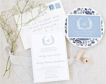 Wedding Invitation, Calligraphy Invitation, Blue Wedding Invitation, Wedding Monogram, Monogram Wedding Invitation, Wedding Invitations