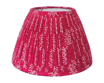 Gathered Lamp Shade - Red Lampshade - Indian Block Print Lamp Shade - Ruched Lampshades - Bohemian Lamp Shade - Shirred Lampshades