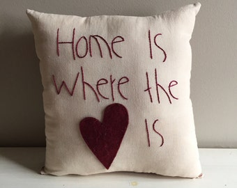 Handmade Home is Where the Heart is Pillow