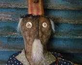 Primitive Extreme Grungy Patriotic 4th of July Uncle Sam Doll Americana Flag Red White Blue Stars Sweetpeas Primitives