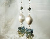 HALF PRICE Brushed silver gemstone earrings, moss aquamarine earrings, sterling silver jewellery OOAK