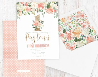 Watercolor Floral  Birthday Invitation, Spring Birthday Party, Floral and Gold Foil Invite, Envelope Liner