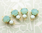 Swarovski Pacific Green Opal and Mint Alabaster Rhinestone Double Set Drop or Connector 16x9mm Brass, Matte Black or Silver Ox Settings - 2