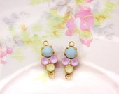 Petite Mint Alabaster Matte Pink & Yellow Swarovski Rhinestones Round Stones in Brass or Antique Silver 2 ring Connector Settings 15x6mm