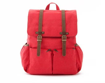 Diaper Backpack / Moms & Dads Diaper Bag / Casual Daypacks / Canvas Backpack / Red Canvas / LIGHTDAYS