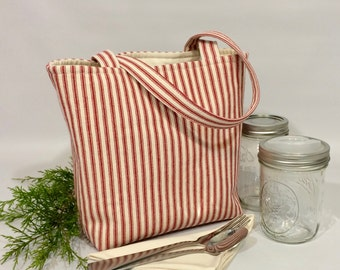 Mason jar carrier bag - Pint 2-jar Jars to Go red ticking stripe mason canning jar lunch tote bag carrier - as seen on the Food in Jars blog