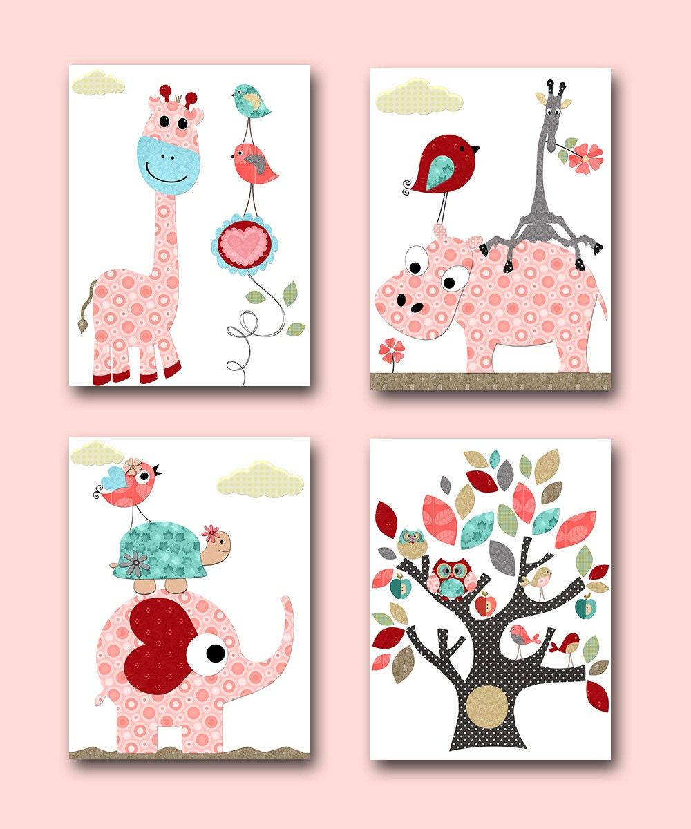 Pink Teal Red Baby Girl Wall Decor Elephant Giraffe Wall Decor